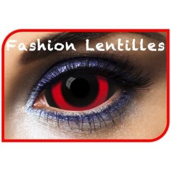 lentilles sclérales noir et rouge