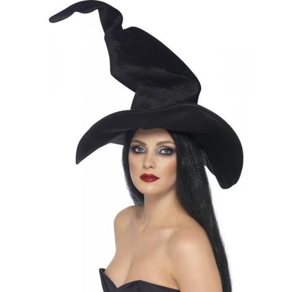 chapeau noir tordu sorcière halloween velours