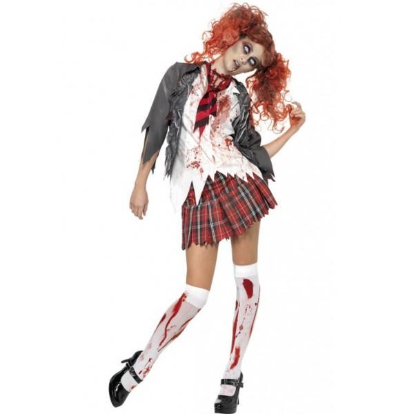 écolière déguisement halloween zombie
