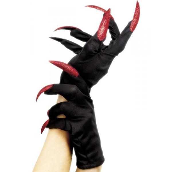 gants noirs de diablesse paillettes déguisement halloween pas cher