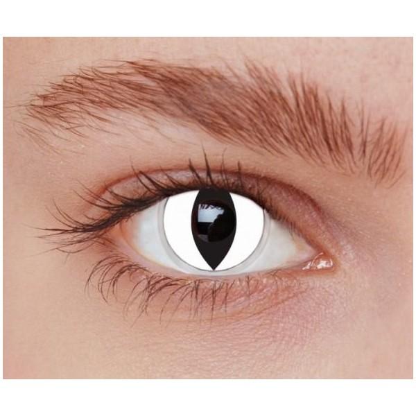 lentilles blanches yeux de chat halloween femme