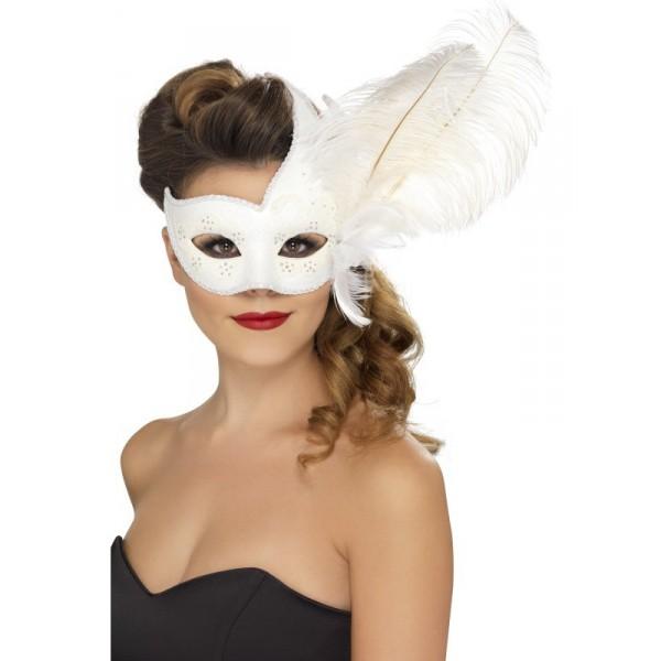 masque vénitien blanc avec plumes carnaval