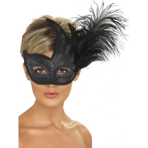 masque vénitien noir avec plumes carnaval