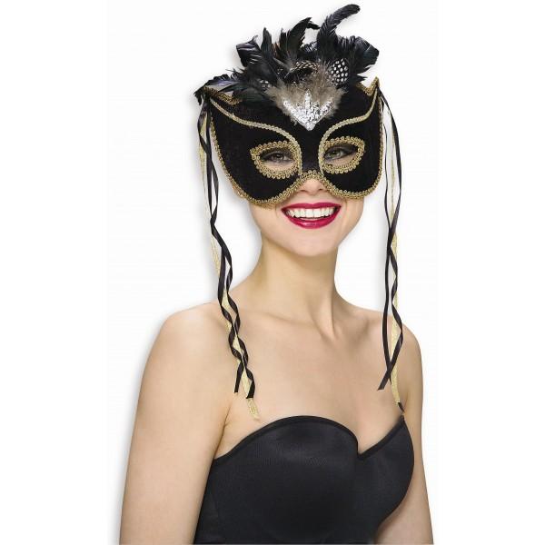 masque vénitien noir et or à plumes carnaval