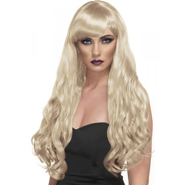 perruque longue blonde ondulée
