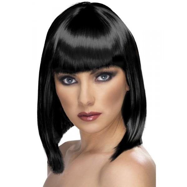 perruque noire au carré glamour