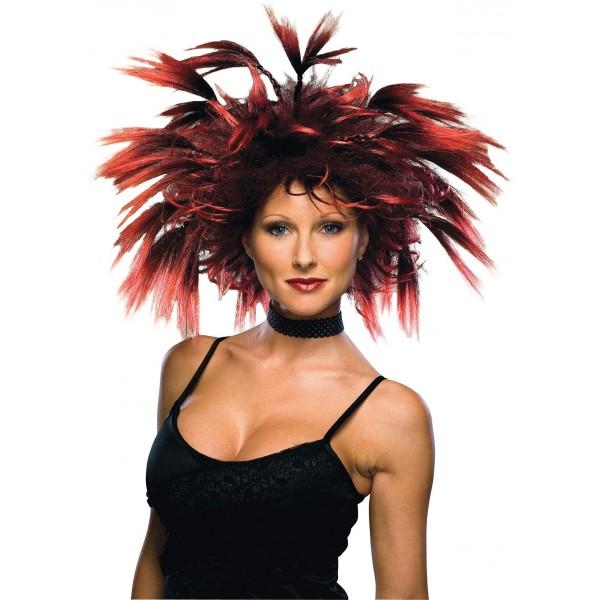 perruque sorcière à plumes perruque halloween femme