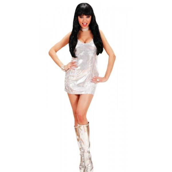 robe disco argentée paillettes